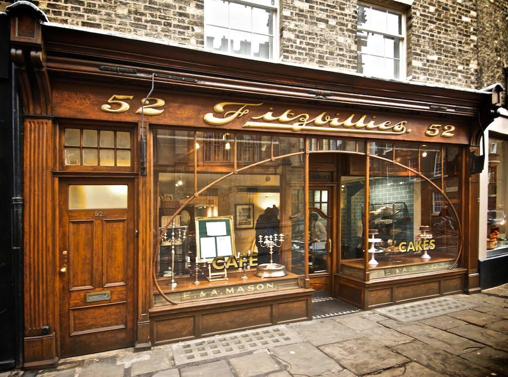 Fitzbillies, Cambridge. Listed Art Nouveau exterior